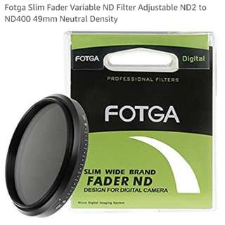 Fotga 49mm nd variable filter.