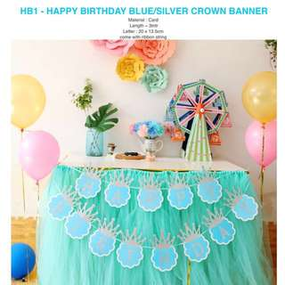 HB1 - Happy Birthday Blue/Silver Crown Banner