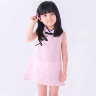Instock pink Cheong sum cny dress brand new size for 1-2.5yrs old