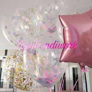 Helium balloons- clear helium balloon with pastel confetti