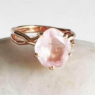 純銀鍍18k玫瑰金戒指(粉紅晶、茶晶)