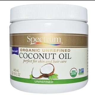 代購Spectrum Essentials, Organic Unrefined Coconut Oil, 15 fl oz (443 ml)