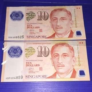 Singapore Portrait $10 (2pcs) No.008525 & 004859