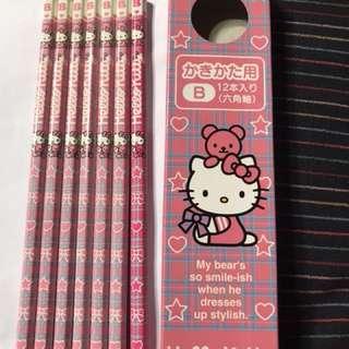 🚚 Hello kitty 日本原版六角軸鉛筆B七隻