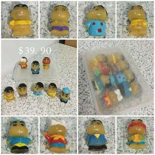 Vintage Set Of 8 Crayon Shin Chan Figurines