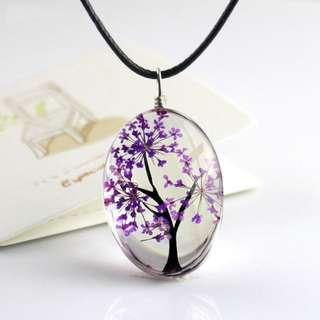 Floral Glass Pendant Necklace