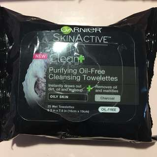 Garnier charcoal cleansing wipes for oily skin