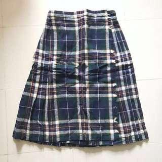 🈹日本格仔中長絨百褶裙 Japan checked winter Pleated midi skirt
