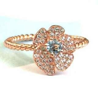 純銀鍍18k玫瑰金天然藍托柏斯石花戒指