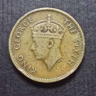 1950 Hong Kong (British) King George VI Nickel Brass 10 Cents 香港 佐治六世 銅鎳幤 一毫