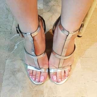 ZARA silver strappy block heels
