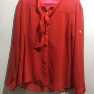 Red Chiffon Blouse with bow