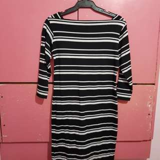 Black and White Stripe Fitted Dress
