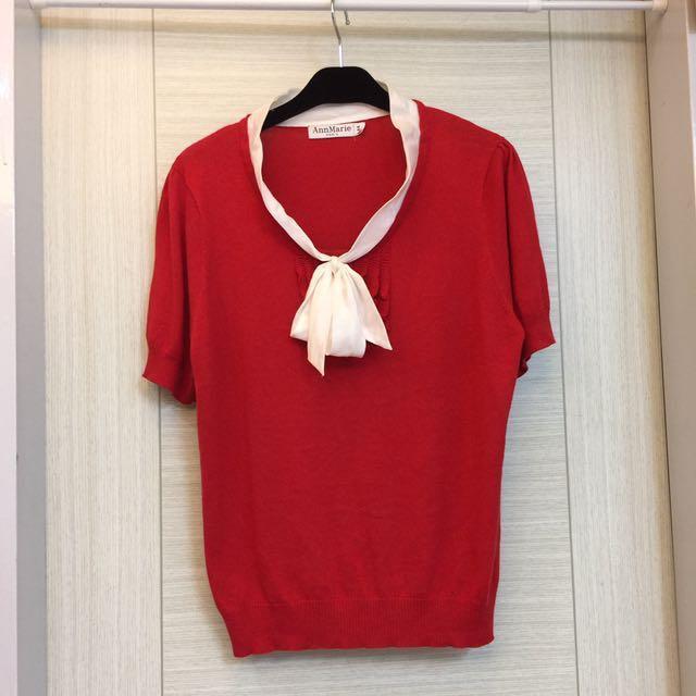 法製紅色白蝴蝶結上衣-44