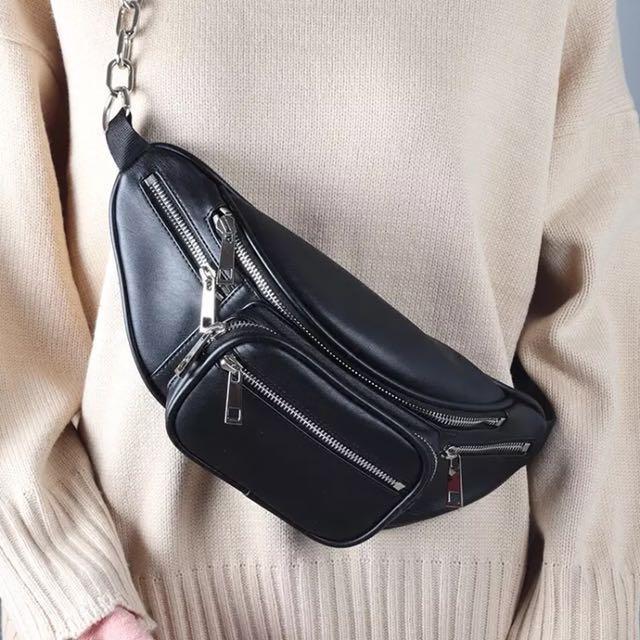 黑色皮革腰包/斜背包