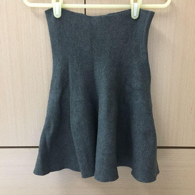 傘狀針織裙-灰