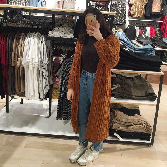 長版駝色棕色針織羊毛開襟外套