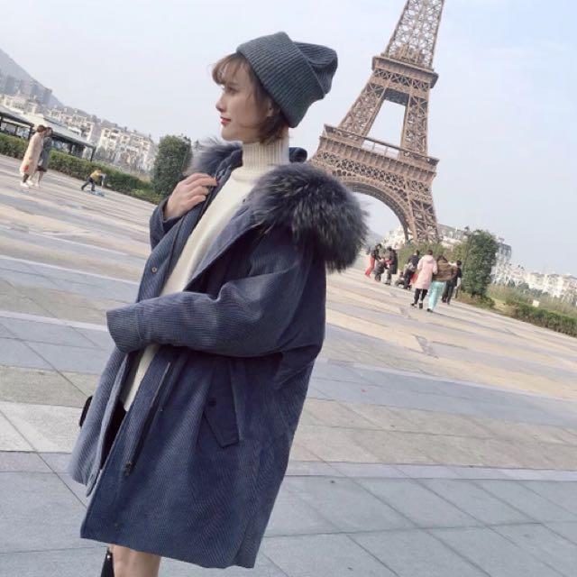 韓超美藍灰色燈芯絨羽絨縮腰外套大衣