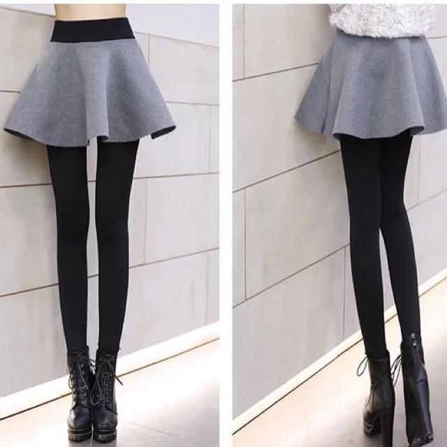 加厚鋪棉保暖假二件式褲裙