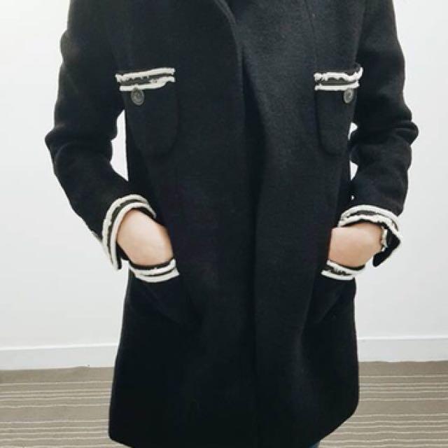 正韓 小香風羊毛大衣