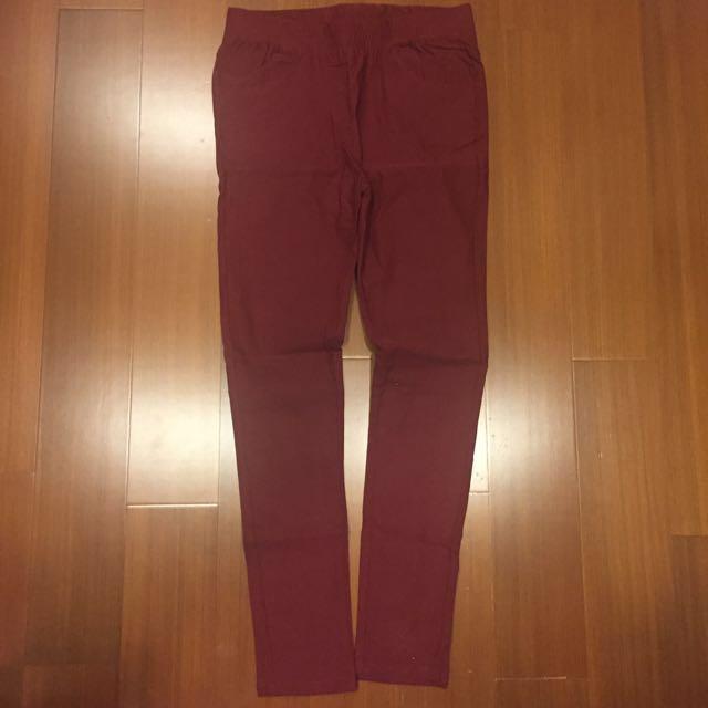酒紅色彈性褲 #大掃除五折