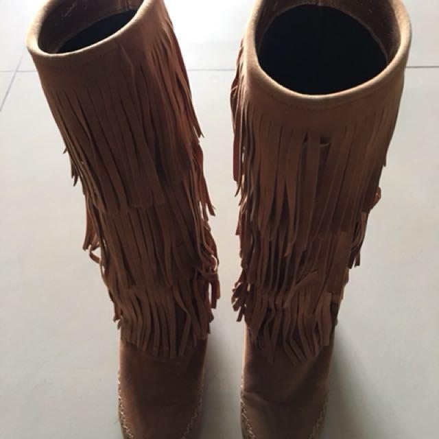 全新 流蘇長統靴 咖啡 麂皮