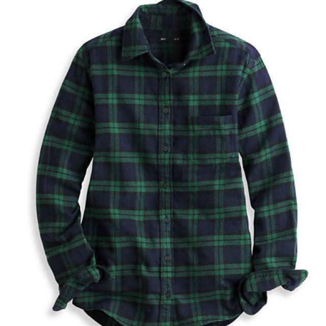 法蘭絨格紋襯衫 綠 / 黑白