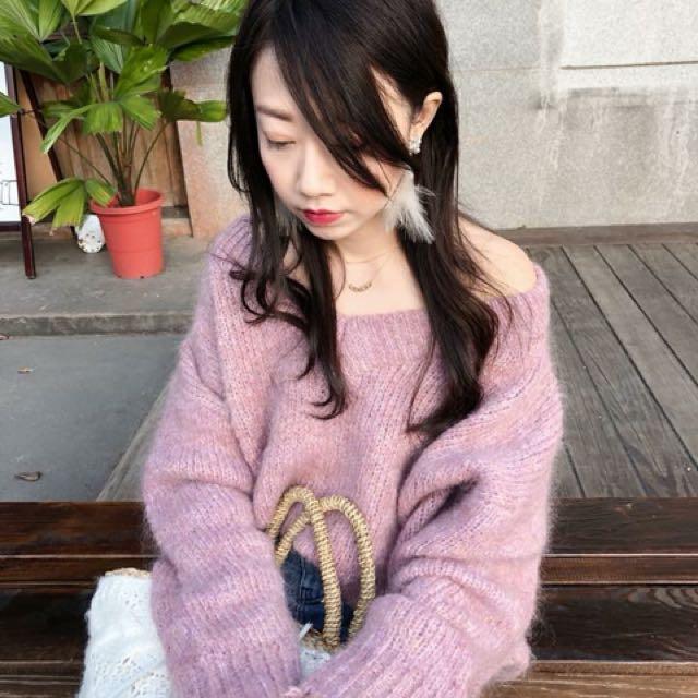正韓 粉紫色 馬海毛 毛衣