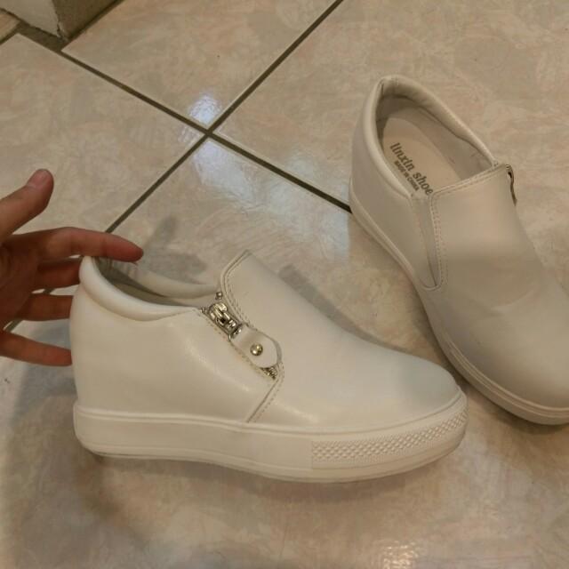 韓系 白色 內增高 百搭鞋 23號