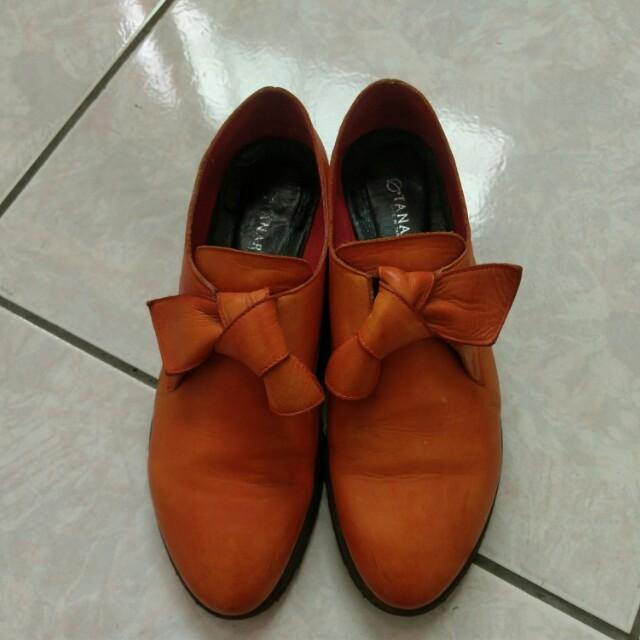 真皮 橘色 橘色系 大扭結蝴蝶結舒適雷跟鞋 36號