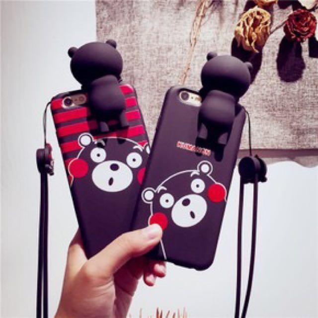 ★╮MiLu小鋪╭☆【二手免運】熊本熊 立體矽膠軟殼 iphone6 plus手機殼 指環扣 手機支架 手機掛繩 鑰匙圈