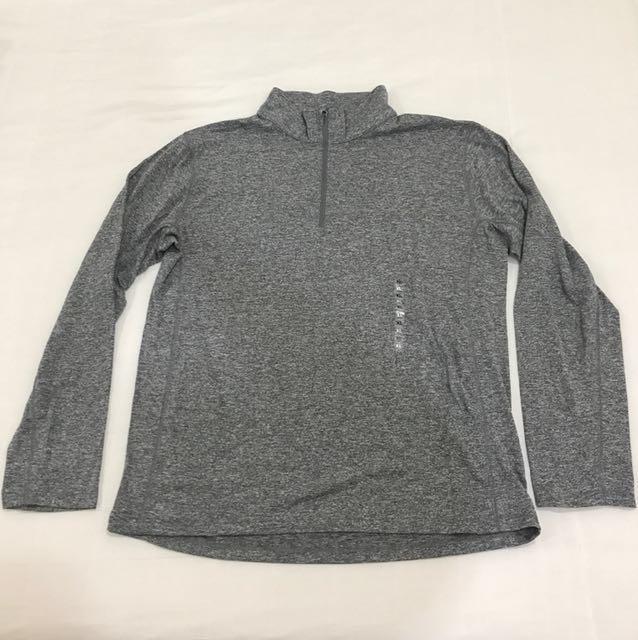 全新品 無印良品 MUJI 短領半拉鏈長袖T恤 XL 灰色