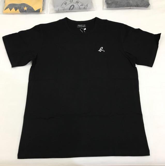 全新正品 agnes b. 草寫logo 男款 短袖T恤 黑 尺寸4