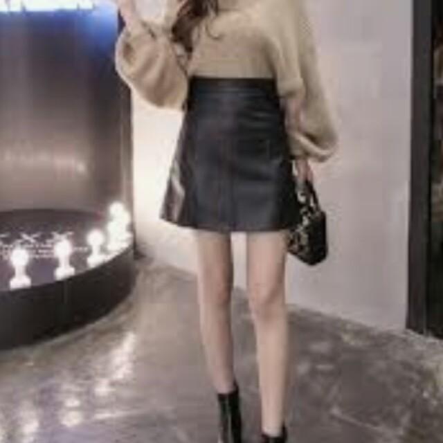 黑色A字皮裙
