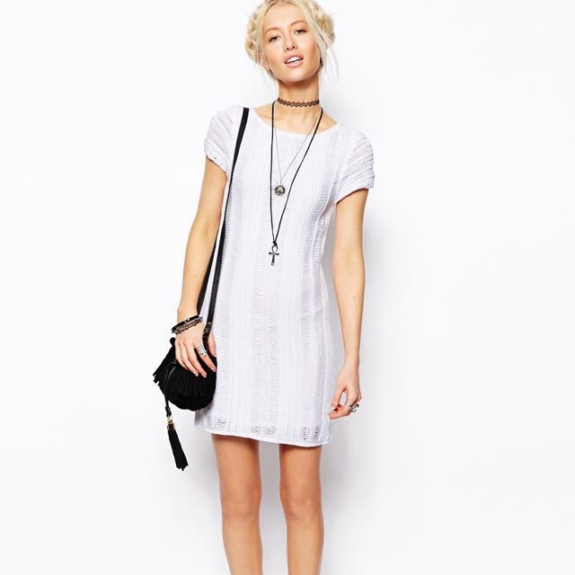ASOS Premium Crochet Shift Dress in White