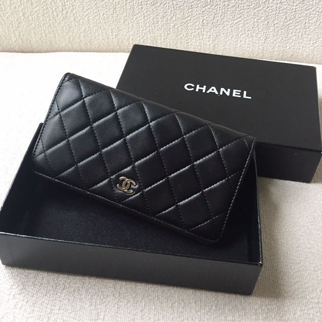 AUTHENTIC CHANEL Classic Lambskin Bifold Yen Long Wallet Purse
