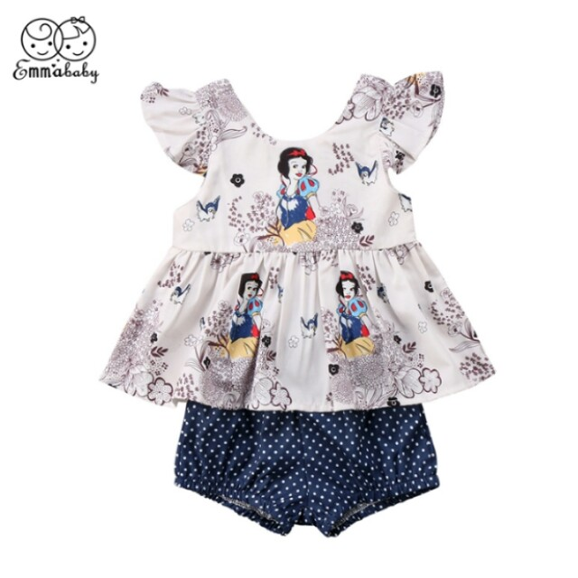 f1fa433259fb baby girl clothes set summer Snow White Princess floral T shirt+Polka Dot  Briefs girls 2pcs Outfits Clothing