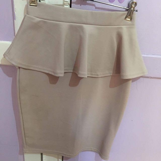 Beige Peplum Skirt