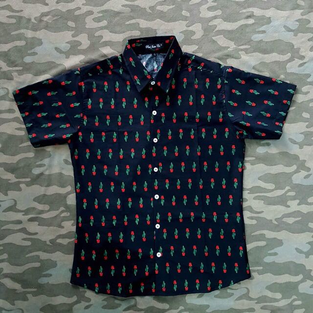 Black Cactus Mens Floral Summer Button Down Polo