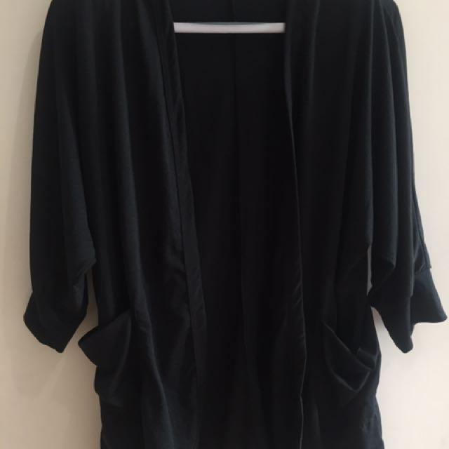 Black plus size cover-up / cardigan