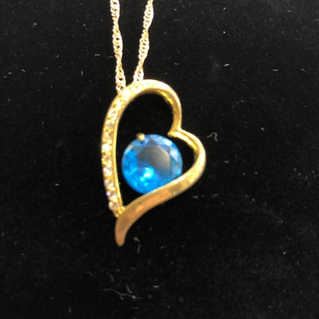 Blue 9ct plated heart necklace