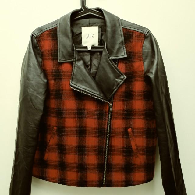 Boutique Faux leather buffalo check jacket