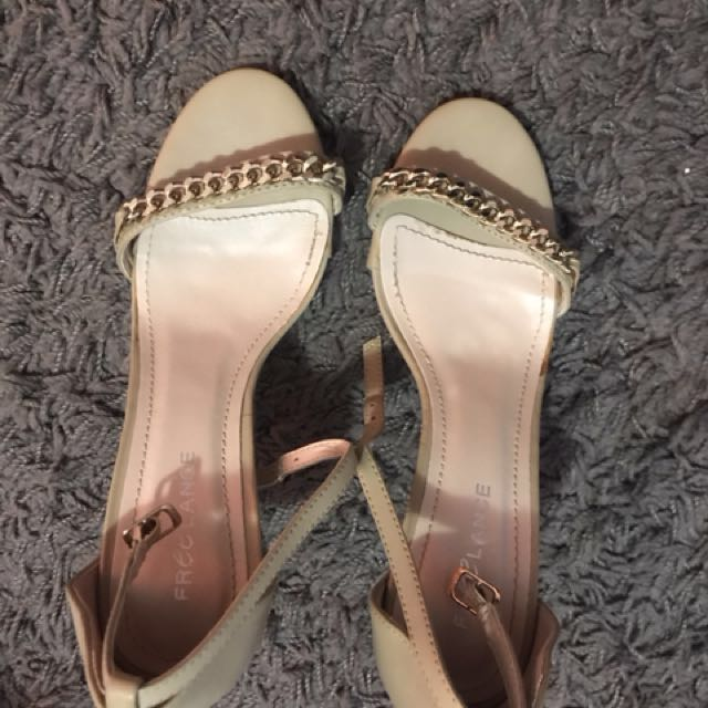 Brand new low straps nude and gold heels size 6