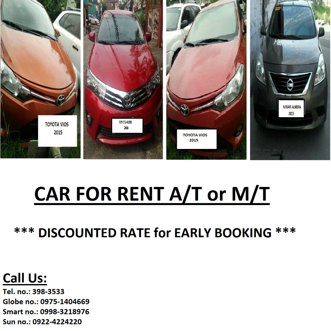 Car for Rent A/T (Self-driven or Chauffeur Driven)  (0975) 1404669 / (02) 398-3533
