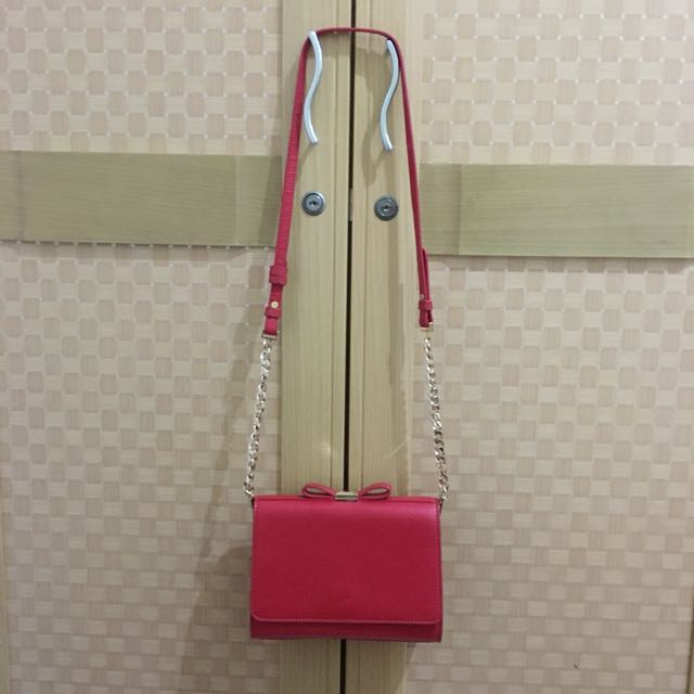 Charles & Keith Red Bow Sling Bag