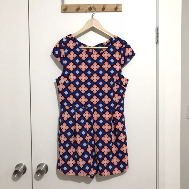 Chicabooti Blue and Peach Printed Floral Playsuit