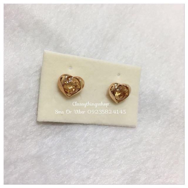 Citrine Stone Heart Earrings