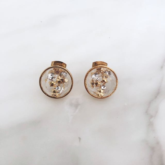 Clear and gold studs with gold stars & gems