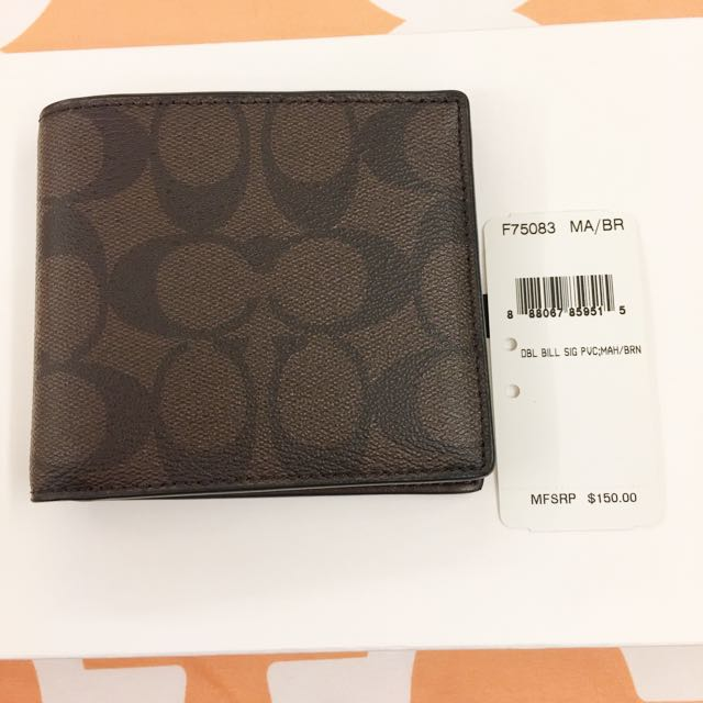 Coach Brown Leather Monogram wallet