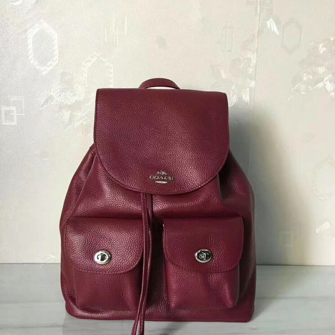 2ebdadd2aa57 Coach Leather Maroon Ladies 37410 Backpack